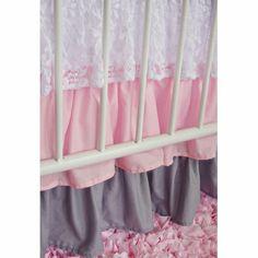 Pink & White Lace Damask Ruffle Crib Bedding Set