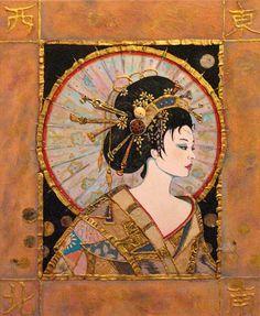 fine artistic geisha art | Geisha by Sharon Butler / 20x16 / Mixed Media / Downtown Gallery