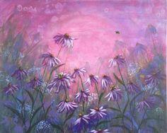 Purple Halo, Echinacea Flower Painting