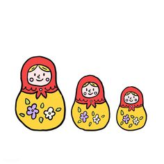 Russian Painting, Matryoshka Doll, Everyday Objects, Free Illustrations, Baby Toys, Vector Free, Doodles, Free Image, Brand Board