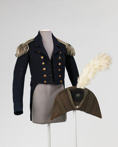 Jacket and bicorne hat worn by an Admiral in the Continental Navy during the Revolutionary War, American, c. 1770's-1780's.