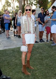 Celebs in Festival Fashion: Back in Kate Bosworth went with a cowboy-chic look at Coachella in a Western-inspired denim jacket, a white tunic mini-dress and incredible studded accessories. Music Festival Outfits, Music Festival Fashion, Coachella Festival, Festival Dress, Coachella Style, Coachella Shoes, Festival Looks, Festival Style, Little White Dresses