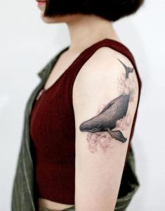 Floating Whale in Clouds Tattoo