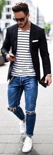 minimalist simplicity // urban men /// mens fashion // mens wear // city life // urban living / boys // watches // mens accessories // mens suit // sun glasses // by davekran Lässigen Jeans, Ripped Jeans Men, Casual Jeans, Casual Outfits, Men Casual, Stylish Jeans, Casual Blazer, Mens Fashion Blazer, Suit Fashion