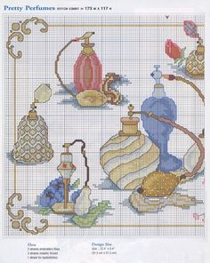 0 point de croix collection parfums - cross stitch perfume bottles collection 1