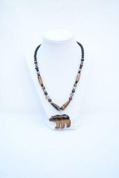 Brown Bear Gemstone Necklace. Bear Necklace. American Indian Bear Spirit Pendant. Symbolic Animal Jewelry. Spiritual Journey Jewelry. by flashinfashinjewelry. Explore more products on http://flashinfashinjewelry.etsy.com
