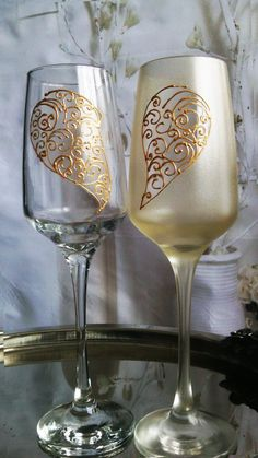 Set of 2 hand painted champagne flutes Love by PaintedGlassBiliana