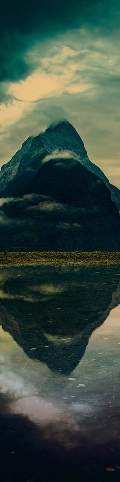 """Mitre Peak in Milford Sound - from the Exhibition: """"Cropped for Pinterest"""" - photo from #treyratcliff Trey Ratcliff at www.StuckInCustoms.com"""