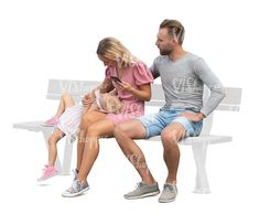 cut out family with a small girl sitting Cut Out People