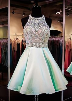 Mint Green Homecoming Dresses,Chiffon Homecoming Dress,Beaded Prom Dresses,Halter Cocktail Dresses,S on Luulla