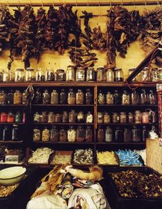 "Someday I want a sort of apothecary in my home, where i have all sorts of jars and bundles of dried herbs and tinctures. For medicinal use, to make ""lotions and potions"" with, and whatever else"