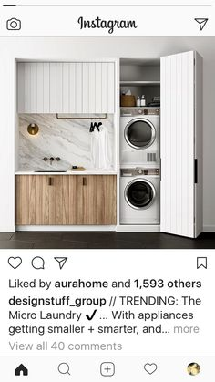 Small Laundry, Laundry Room, Stacked Washer Dryer, Bathroom Medicine Cabinet, Living Spaces, Kitchen Appliances, Design, Home Decor, Mud