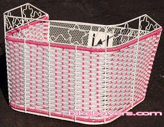 Plastic Wicker Basket pink white beach Cruiser Bike Bicycle