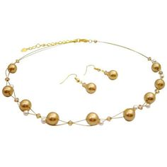 BRD191  Jewelry That Make Your Wedding In Gold Pearls Ivory Colorado Crystals