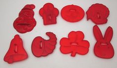 8 Vintage red plastic HRM cookie cutters Christmas Thanksgiving Halloween Easter