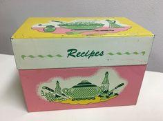 Vintage Retro Recipe Box Tin Metal Pink Yellow Green Ohio Art Mid Century | eBay