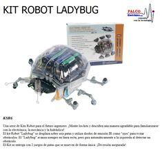 """KIT ROBOT LADYBUG Una serie de Kits Robot para el futuro ingeniero. ¡Monte los kits y descubra una manera agradable para familiarizarse  con la electrónica, la mecánica y la hidráulica! El kit Robot """"Ladybug"""" se desplaza sobre seis patas y utiliza diodos de emisión IR como """"ojos"""" para evitar  obstáculos. El """"Ladybug"""" avanza siempre en línea recta, pero gira automáticamente a la izquierda al detectar un  obstáculo. El Kit se entrega con 2 juegos de patas que se mueven de forma única… Electronic, Sci Fi, Kit, Shape, Engineer, Future, Eyes, Tecnologia, Games"""