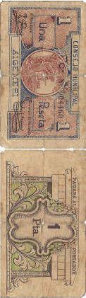Algemesí - 1 pta. : Consejo Municipal Algemesí, una peseta :: Paper moneda del Pavelló de la República (Universitat de Barcelona)
