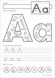 Alphabet Pages for Back to School by Lavinia Pop Preschool Letters, Homeschool Kindergarten, Learning Letters, Alphabet Activities, Preschool Worksheets, Preschool Learning, Kindergarten Worksheets, Teaching, Tracing Worksheets