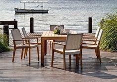 7pce Palmer Table & Winton Wicker Chair Teak Setting