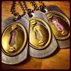 Keyhole Pendants with Vintage Stamp inserts. #vintage #keyhole #key #jewelry #stamp #necklace