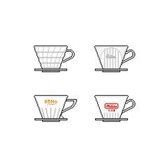 Coffee Drippers #dripper #hario #kalita #kono #melita #pixelart http://ift.tt/20b7VYo