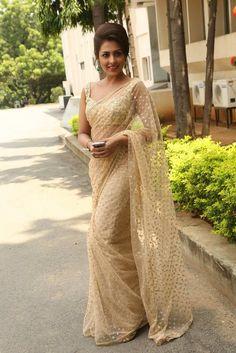 Madhushalini in Embroidery Net Saree