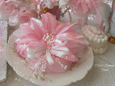 Pink Poinsettia Princess Rose Floral Picks Ornament Christmas Tree Trim Pearl White Shabby Chic Rose Bow Floral Marie Antoinette SCT