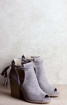 steel blue suede lace-up booties