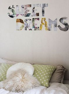 simple art idea - cut letters out of magazine pages, fun for a girls room
