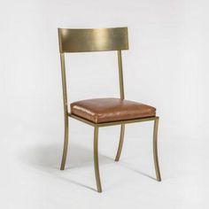 Mendochino Dining Chair - Antique Brass + Leather