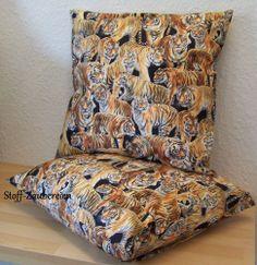Kissen Kissenhülle Kissenbezug Bezug Tiger Katzen Großkatzen Handmade NEU