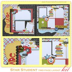 Shop our unique selection of scrapbook mini albums, scrapbook layouts, handmade cards, paper and wood decor craft kits. Precut and easy to assemble scrapbooking kits. Visit our gallery for the latest scrapbooking layout and mini album ideas. School Scrapbook Layouts, Scrapbook Layout Sketches, 12x12 Scrapbook, Mini Scrapbook Albums, Scrapbooking Layouts, Graduation Scrapbook, Wedding Scrapbook, Kids Pages, Creative Memories