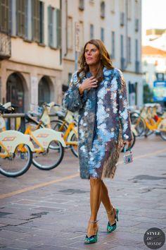 Anna Dello Russo in a Prada coat and Miu Miu shoes.