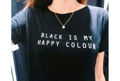 """Painting """"Black Is My Happy Color"""" T-shirt Unique Women Harajuku Tee Short Sleeve Cotton Black Casual Tops [9324870724]"""