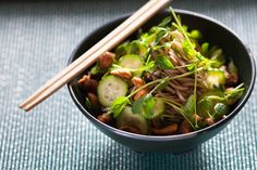 Chilled Sesame Soba Noodle Salad with Spiced Cashews. Visit https://www.blueapron.com/ to receive the ingredients.