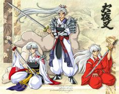 I've never seen a picture with them and their father. Anime,Anime/Manga/Cosplay,inuyasha,The Geek in me, I Love Anime, Awesome Anime, Ghibli, Anime Manga, Anime Art, Inuyasha And Sesshomaru, Inu Yasha, Arte Sailor Moon, Studios