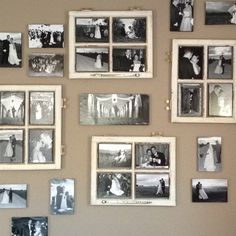 Wedding photo wall, with old window frames.