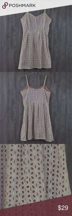 """Urban Outfitters Natural Backless Mini Dress 4 Such a cute dress in great condition! Spaghetti straps. Backless design. Really pretty Pattern. Fully lined. Pins & Needle is a brand of Urban Outfitters. Bust 15"""" / Length 31"""" Urban Outfitters Dresses Mini"""