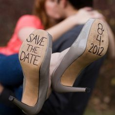 Can't get enough of your fiance AND your heels?? Bare your wedding date on the soles of your stilettos! {Photo: Jen Rodriguez}