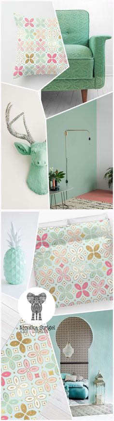 DECO INSPIRATION SPRING 2016 - MINT & MORROCAN PATTERN by Monika Strigel  The ALEXA MORROCAN SPRING design is available for pillows, duvets, rugs and more home interior products at Society6. The pillow starts at $20