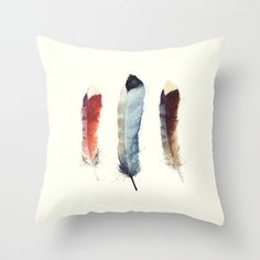 Feathers Throw Pillow by Amy Hamilton | Society6