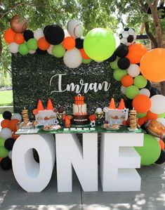 The dessert table at this Sports themed birthday party! The dessert table at this Sports themed birthday party! Love the ONE table! ee more party - Sports Themed Birthday Party, Boys First Birthday Party Ideas, First Birthday Party Themes, Birthday Themes For Boys, Wild One Birthday Party, Baby Boy First Birthday, Kids Sports Party, Basketball Birthday Parties, 3rd Birthday