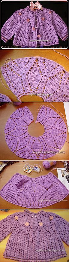 """вязание крючком детям [   """"Baby girl jacket: top down raglan with faux eyelet cables and flared back [] # # # # # # # # #"""",   """"Leave off the buttons, :)"""" ] #<br/> # #Crochet #Sweaters,<br/> # #The #Button,<br/> # #Crochet #Baby,<br/> # #For #Girls,<br/> # #Baby #Girls,<br/> # #Baby #Girl #Jackets,<br/> # #Blouses,<br/> # #Buttons,<br/> # #Sweatshirts<br/>"""