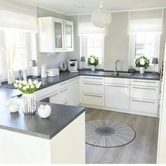 Minimal and lovely kitchen design. 😊 Are you ready to build your own dream kitchen? Home Art Tile crew is more than happy to help. Kitchen Room Design, Modern Kitchen Design, Home Decor Kitchen, Kitchen Living, Interior Design Kitchen, Kitchen Furniture, Home Kitchens, Marble Interior, Grey Home Decor