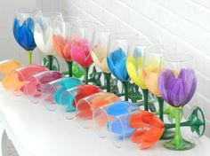 Hand Painted Wine Glass - Tulip Wine Glass by Bella Vetro by Samantha,