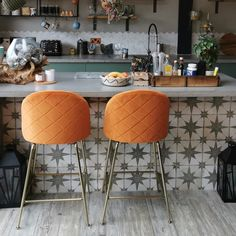 Heather bar stool with backrest, velvet upholstery, leopard print color: Brass Cult Furniture Kitchen Counter Stools, Counter Height Bar Stools, Copper Bar Stools, Orange Bar Stools, Modern Bar Stools, Outdoor Kitchen Bars, Sofa Sale, Metal Bar, Chairs For Sale