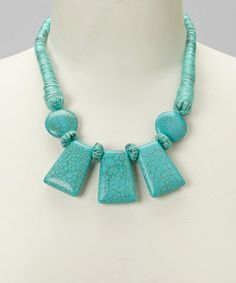 This Turquoise Geometric Stone Bib Necklace is perfect! #zulilyfinds