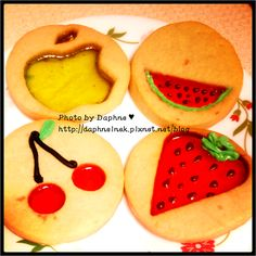 Candy stained glass fruit cookies.