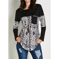 Rotita Black Long Sleeve Patchwork Printed T Shirt ($22) ❤ liked on Polyvore featuring tops, t-shirts, black, pattern t shirt, long sleeve tops, longsleeve t shirts, long sleeve tees and cotton blend t shirts